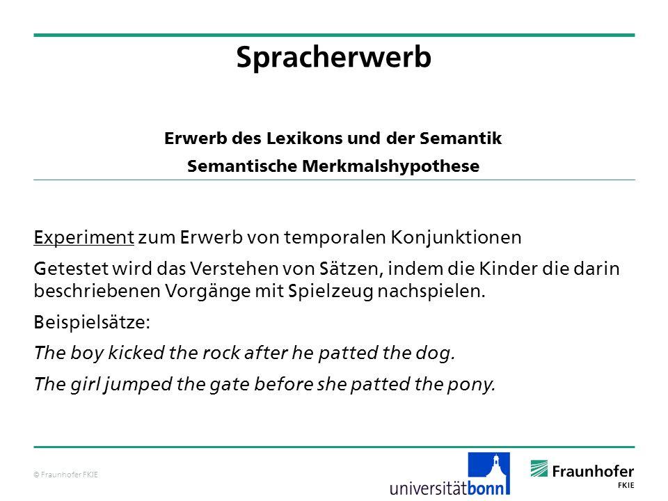 © Fraunhofer FKIE Spracherwerb Experiment zum Erwerb von temporalen Konjunktionen Getestet wird das Verstehen von Sätzen, indem die Kinder die darin b