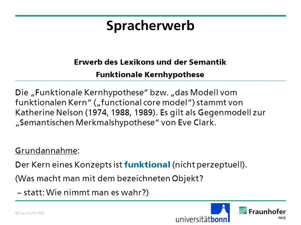 © Fraunhofer FKIE Spracherwerb Erwerb des Lexikons und der Semantik Funktionale Kernhypothese Die Funktionale Kernhypothese bzw. das Modell vom funkti