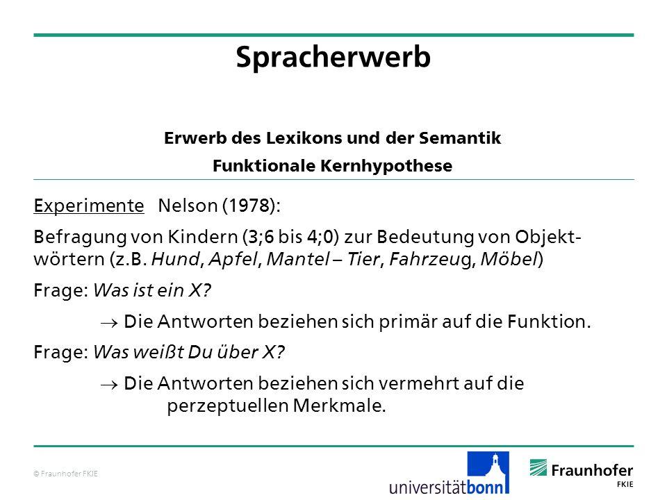 © Fraunhofer FKIE Spracherwerb Erwerb des Lexikons und der Semantik Funktionale Kernhypothese Experimente Nelson (1978): Befragung von Kindern (3;6 bi