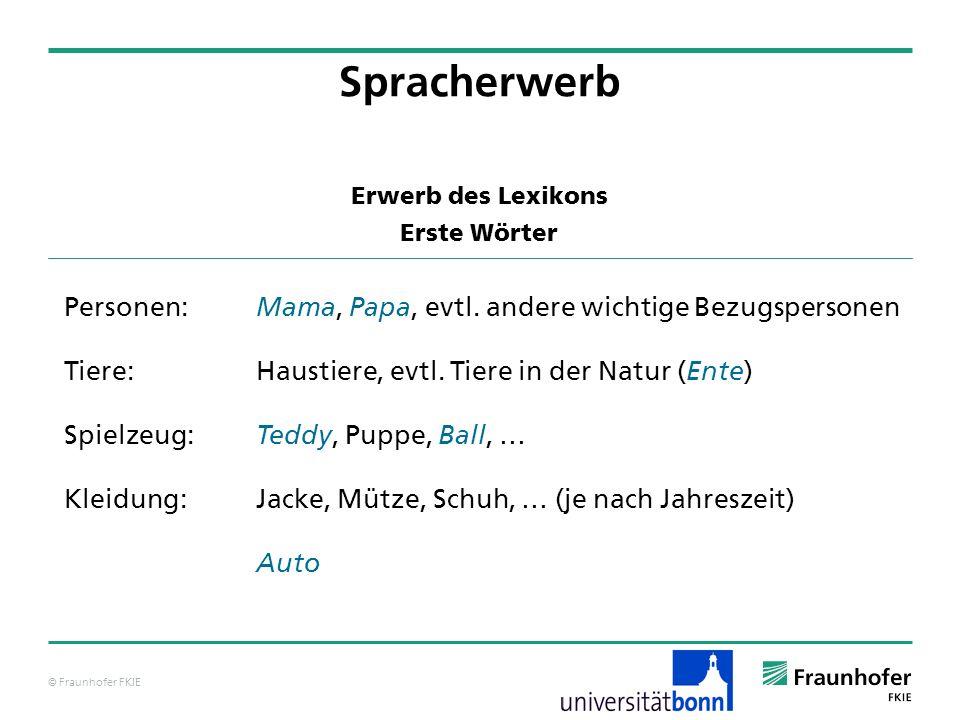 © Fraunhofer FKIE Erwerb des Lexikons Erste Wörter Spracherwerb Personen: Mama, Papa, evtl. andere wichtige Bezugspersonen Tiere:Haustiere, evtl. Tier