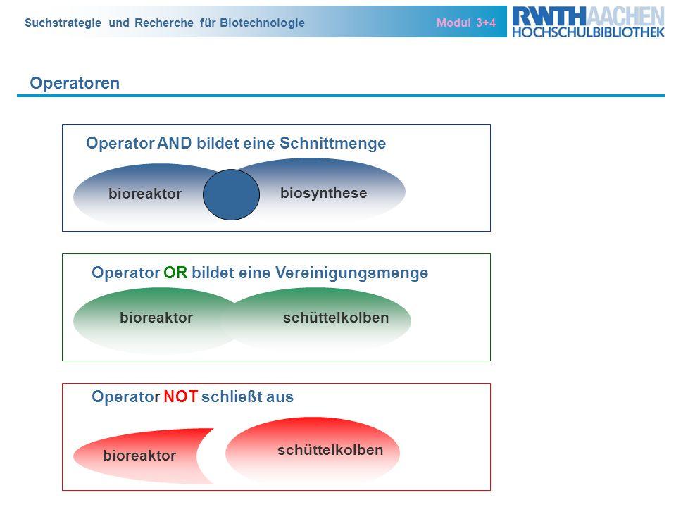 Suchstrategie und Recherche für Biotechnologie Modul 3+4 Operatoren Operator AND bildet eine Schnittmenge biosynthese bioreaktor schüttelkolben Operat