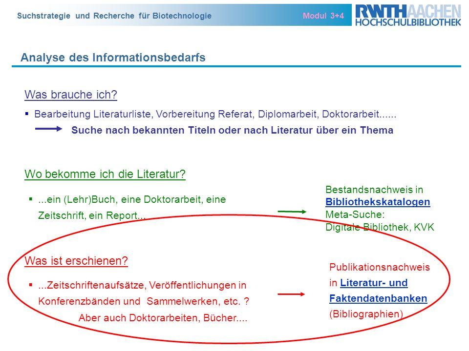 Suchstrategie und Recherche für Biotechnologie Modul 3+4 Analyse des Informationsbedarfs Bestandsnachweis in Bibliothekskatalogen Bibliothekskatalogen