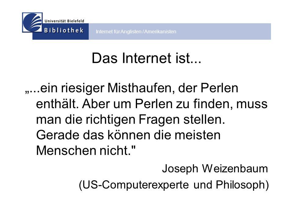 Internet für Anglisten / Amerikanisten Internet-Suchräume Quelle: http://www.suchfibel.de/2kunst/suchraum.htmhttp://www.suchfibel.de/2kunst/suchraum.htm