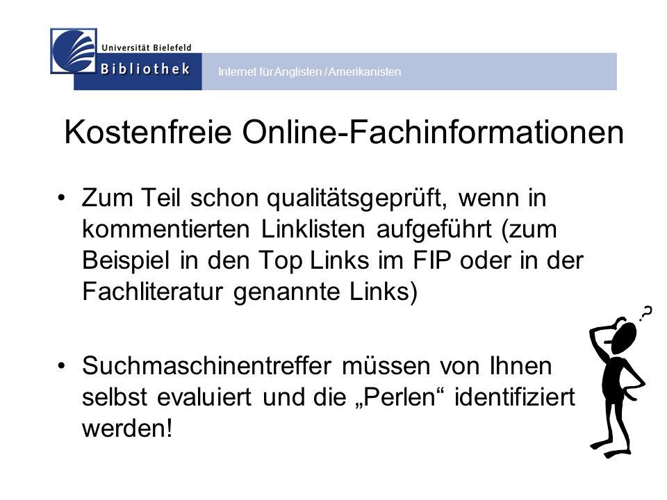 Internet für Anglisten / Amerikanisten Bewertungskriterien für Online- Informationen Impressum Motiv der Veröffentlichung.