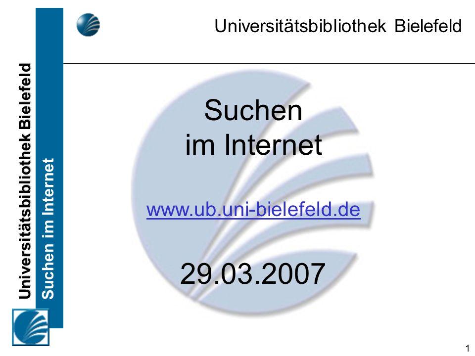 Universitätsbibliothek Bielefeld Suchen im Internet 12 Internetverzeichnisse Aufbau: –Redakteur / Redaktionsteam prüft Internetseiten –Sortierung in ein Themengebiet –Gliederung in Haupt- und Unterkategorien –Querverweise auf ähnliche Themengebiete