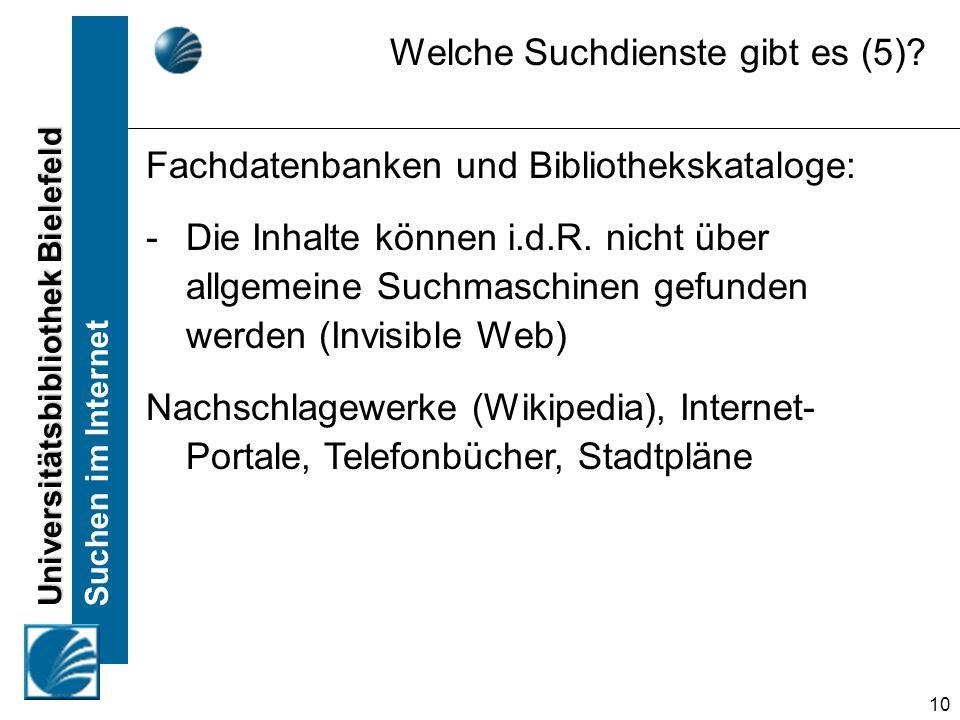 Universitätsbibliothek Bielefeld Suchen im Internet 10 Fachdatenbanken und Bibliothekskataloge: -Die Inhalte können i.d.R.