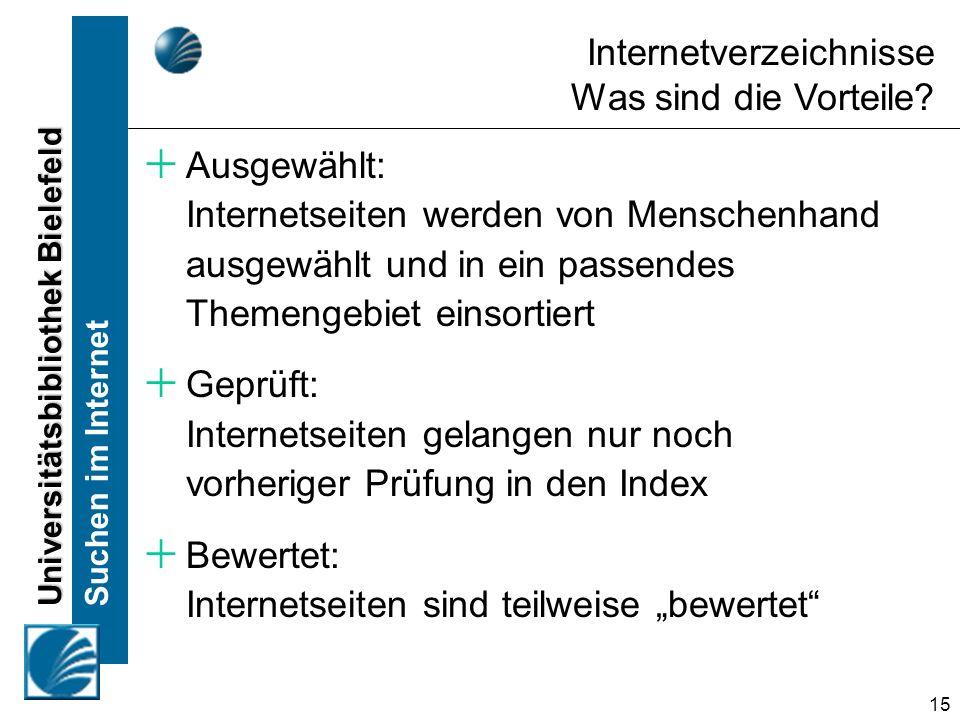 Universitätsbibliothek Bielefeld Suchen im Internet 15 Internetverzeichnisse Was sind die Vorteile? Ausgewählt: Internetseiten werden von Menschenhand