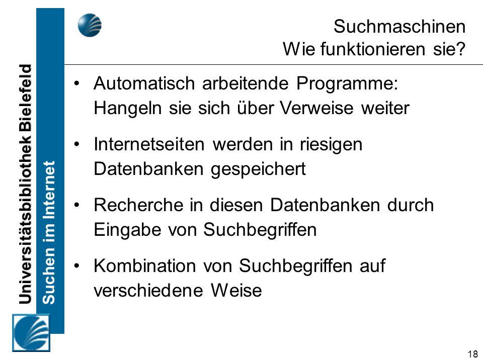 Universitätsbibliothek Bielefeld Suchen im Internet 18 Automatisch arbeitende Programme: Hangeln sie sich über Verweise weiter Internetseiten werden i