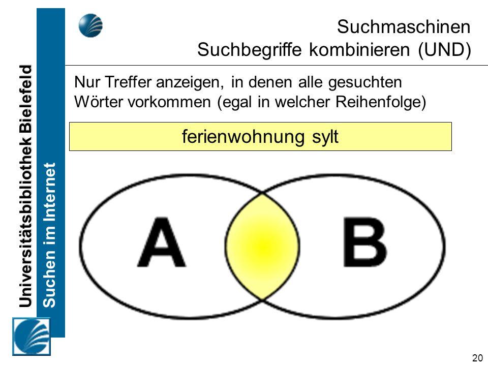 Universitätsbibliothek Bielefeld Suchen im Internet 20 Nur Treffer anzeigen, in denen alle gesuchten Wörter vorkommen (egal in welcher Reihenfolge) Su