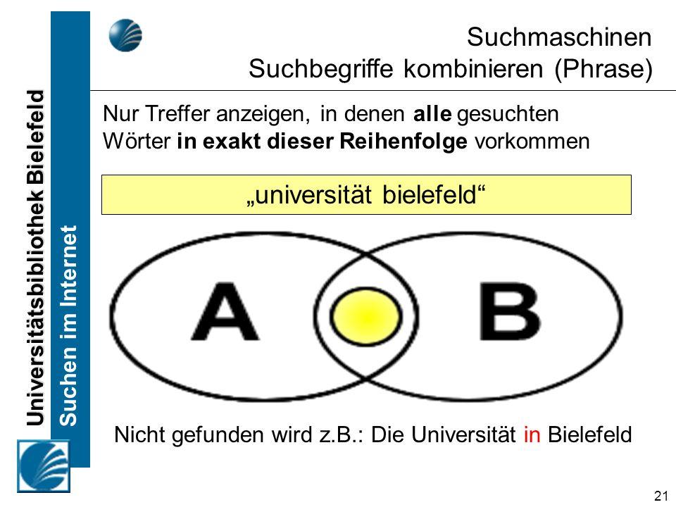 Universitätsbibliothek Bielefeld Suchen im Internet 21 Nur Treffer anzeigen, in denen alle gesuchten Wörter in exakt dieser Reihenfolge vorkommen Suchmaschinen Suchbegriffe kombinieren (Phrase) universität bielefeld Nicht gefunden wird z.B.: Die Universität in Bielefeld