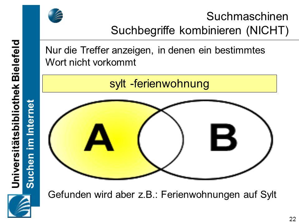 Universitätsbibliothek Bielefeld Suchen im Internet 22 Nur die Treffer anzeigen, in denen ein bestimmtes Wort nicht vorkommt Suchmaschinen Suchbegriff