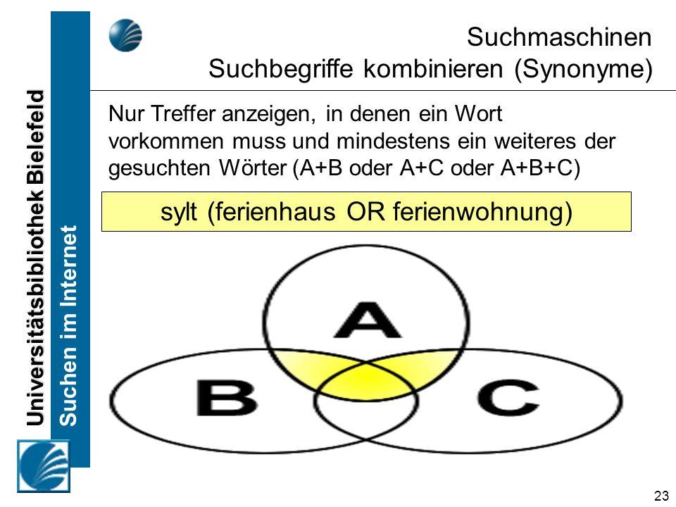 Universitätsbibliothek Bielefeld Suchen im Internet 23 Suchmaschinen Suchbegriffe kombinieren (Synonyme) Nur Treffer anzeigen, in denen ein Wort vorkommen muss und mindestens ein weiteres der gesuchten Wörter (A+B oder A+C oder A+B+C) sylt (ferienhaus OR ferienwohnung)