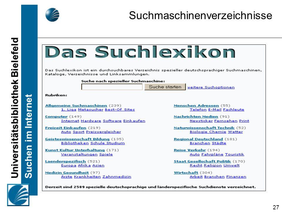 Universitätsbibliothek Bielefeld Suchen im Internet 27 Suchmaschinenverzeichnisse