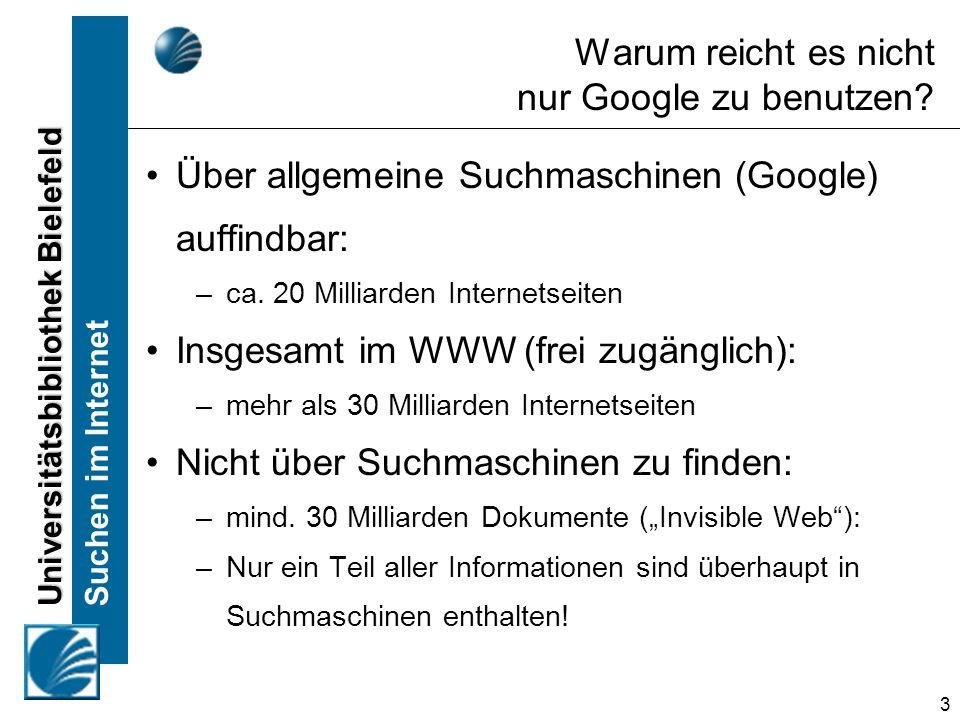 Universitätsbibliothek Bielefeld Suchen im Internet 14 Internetverzeichnisse in der Praxis Suchen Sie in www.dmoz.org Suchbeispiel: -Finden Sie deutschsprachige Webseiten zum Thema Transsibirische Eisenbahn -Benutzen Sie im ersten Schritt nur das Browsing und erst im zweiten Schritt die Suchfunktion