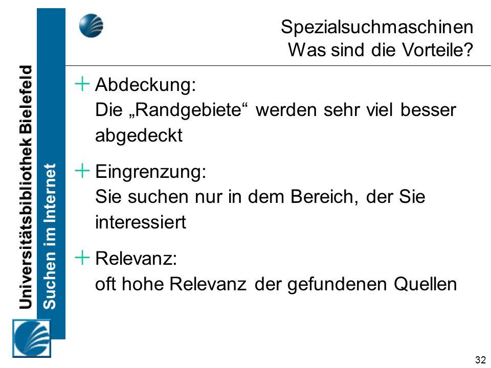 Universitätsbibliothek Bielefeld Suchen im Internet 32 Spezialsuchmaschinen Was sind die Vorteile? Abdeckung: Die Randgebiete werden sehr viel besser