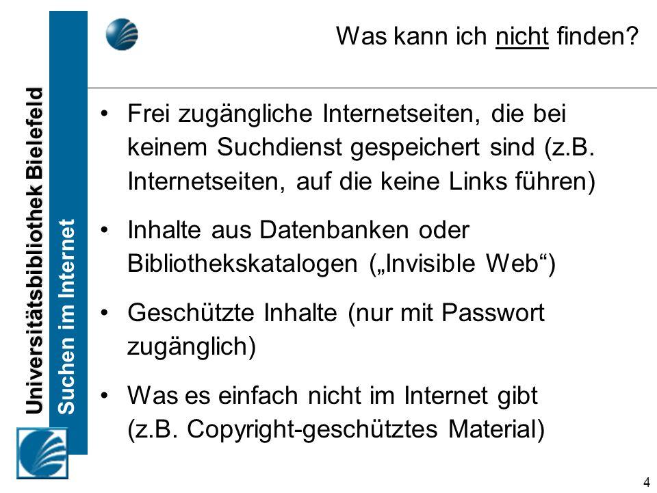 Universitätsbibliothek Bielefeld Suchen im Internet 4 Was kann ich nicht finden? Frei zugängliche Internetseiten, die bei keinem Suchdienst gespeicher