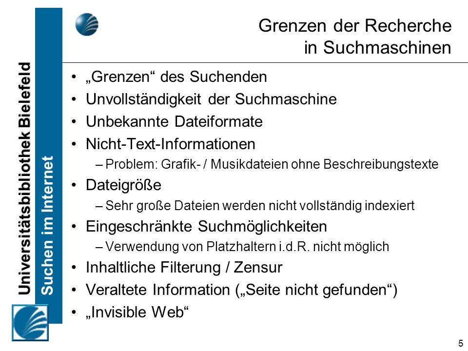 Universitätsbibliothek Bielefeld Suchen im Internet 36 Inhaltliche Kriterien zur Beurteilung von Internetseiten Für wen wurde die Seite geschrieben.