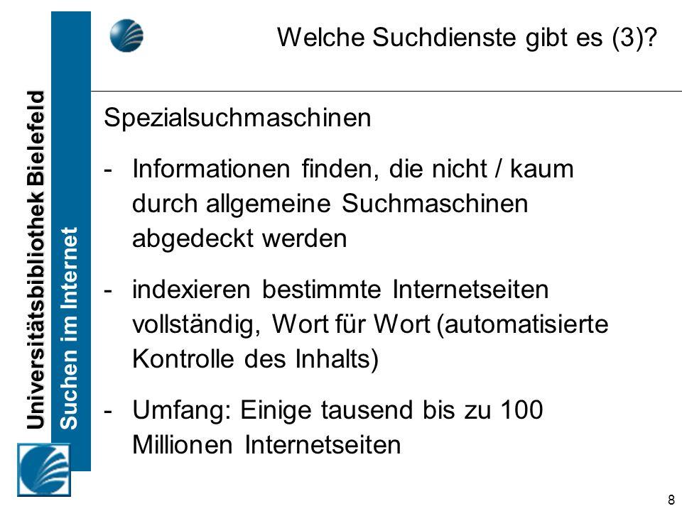 Universitätsbibliothek Bielefeld Suchen im Internet 19 Alle Treffer anzeigen, in denen mindestens eines der gesuchten Wörter vorkommt (Synonyme) Suchmaschinen Suchbegriffe kombinieren (ODER) ferienwohnung OR ferienhaus