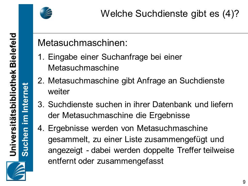 Universitätsbibliothek Bielefeld Suchen im Internet 20 Nur Treffer anzeigen, in denen alle gesuchten Wörter vorkommen (egal in welcher Reihenfolge) Suchmaschinen Suchbegriffe kombinieren (UND) ferienwohnung sylt
