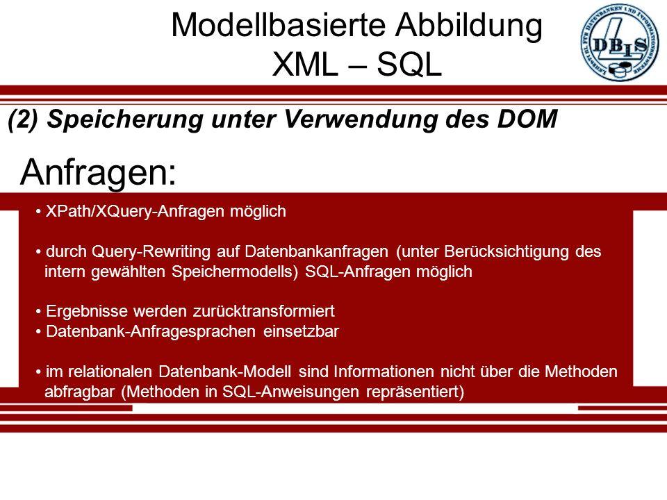 Modellbasierte Abbildung XML – SQL Anfragen: (2) Speicherung unter Verwendung des DOM XPath/XQuery-Anfragen möglich durch Query-Rewriting auf Datenbankanfragen (unter Berücksichtigung des intern gewählten Speichermodells) SQL-Anfragen möglich Ergebnisse werden zurücktransformiert Datenbank-Anfragesprachen einsetzbar im relationalen Datenbank-Modell sind Informationen nicht über die Methoden abfragbar (Methoden in SQL-Anweisungen repräsentiert)