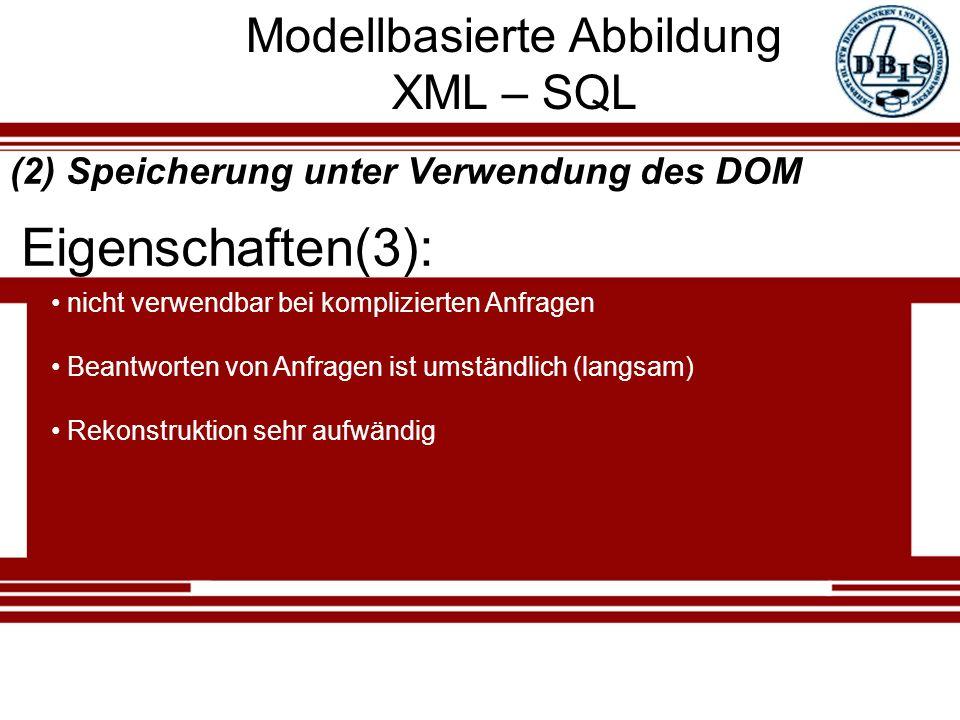 Modellbasierte Abbildung XML – SQL Eigenschaften(3): (2) Speicherung unter Verwendung des DOM nicht verwendbar bei komplizierten Anfragen Beantworten von Anfragen ist umständlich (langsam) Rekonstruktion sehr aufwändig