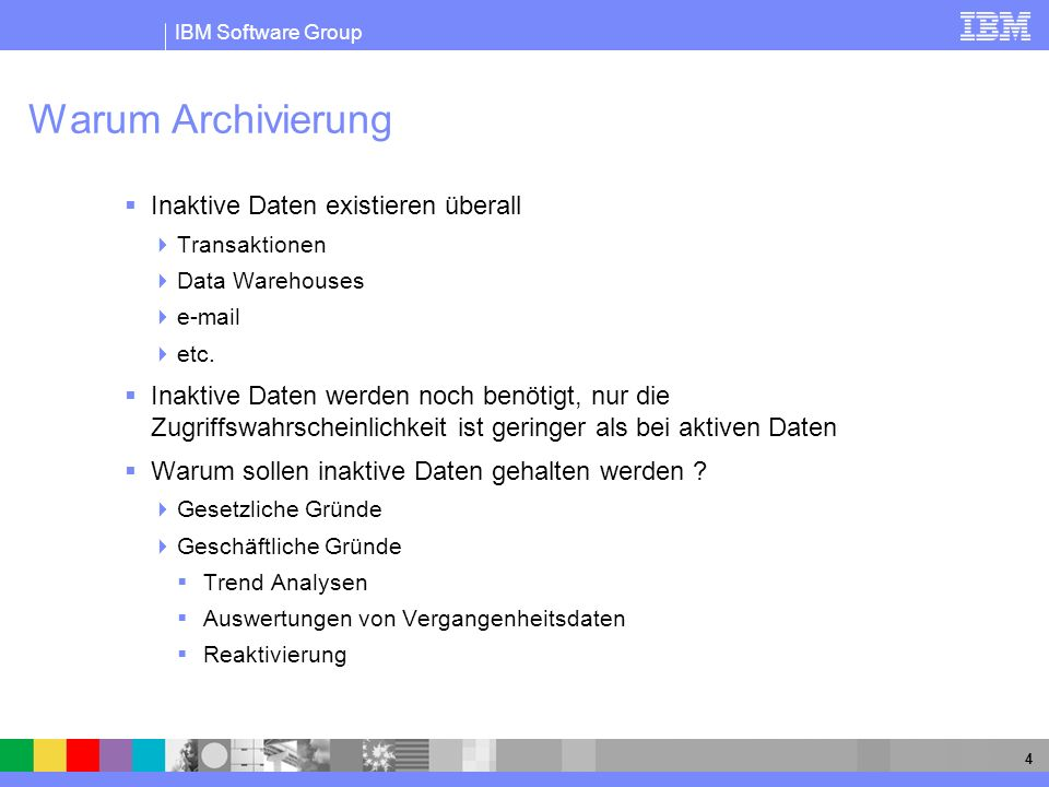 IBM Software Group 15 DB2 Data Archive Expert for z/OS Archive To file No SQL access, but cheaper media options available –Consider media format when upgrading storage devices –Tape is still about 5 times cheaper than disk Can use products like a 4GL to access data directly DFHSM can be used to automatically migrate files to cheaper storage media Like archive tables, rows are timestamped in order to know when they were archived WORM support