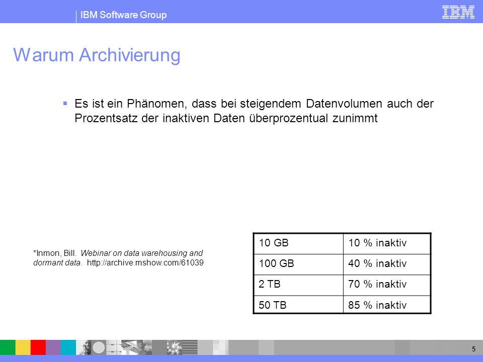 IBM Software Group 6 Warum Archivierung Das Problem inaktive Daten erzeugen Kosten Wachsende Besorgnis der IT Manager : wie gehe ich mit steigendem Datenvolumen um Kapazitätserweiterung ist nicht immer der effizienteste Weg mit Wachstum umzugehen Ungezügeltes Datenwachstum beeinträchtigt das IT Umfeld in folgenden Bereichen : Performance Kosten für Prozessor, Speicher Handhabung / Wartung
