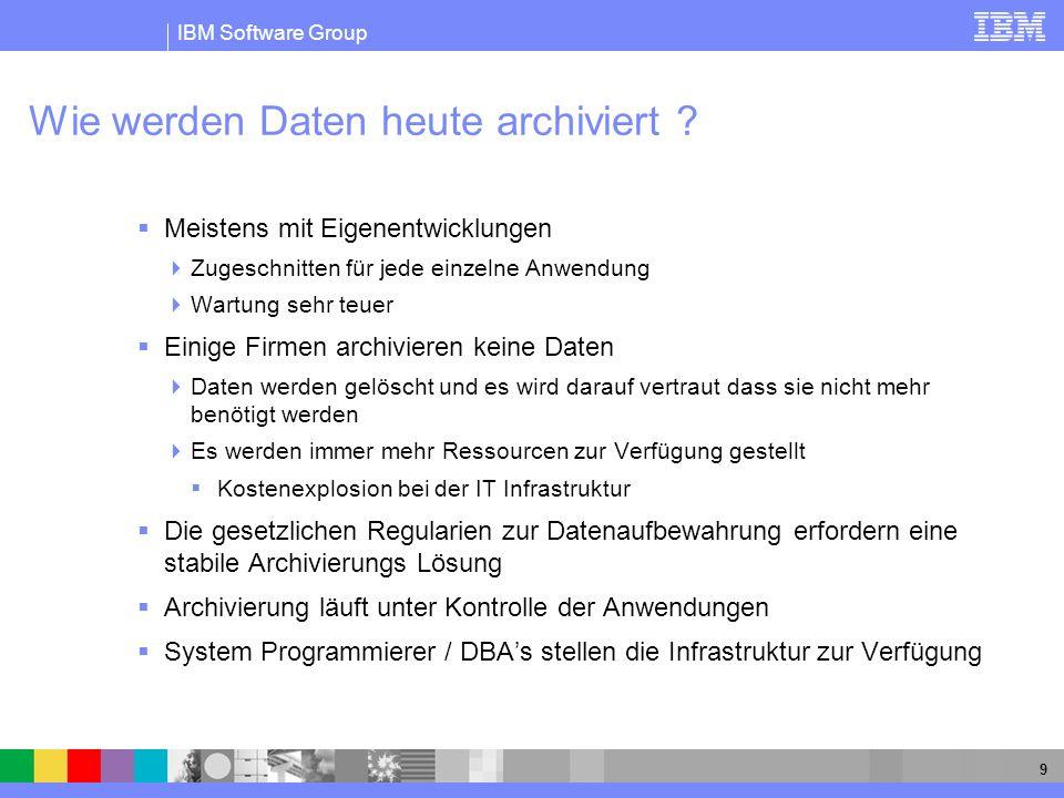 IBM Software Group 9 Wie werden Daten heute archiviert ? Meistens mit Eigenentwicklungen Zugeschnitten für jede einzelne Anwendung Wartung sehr teuer