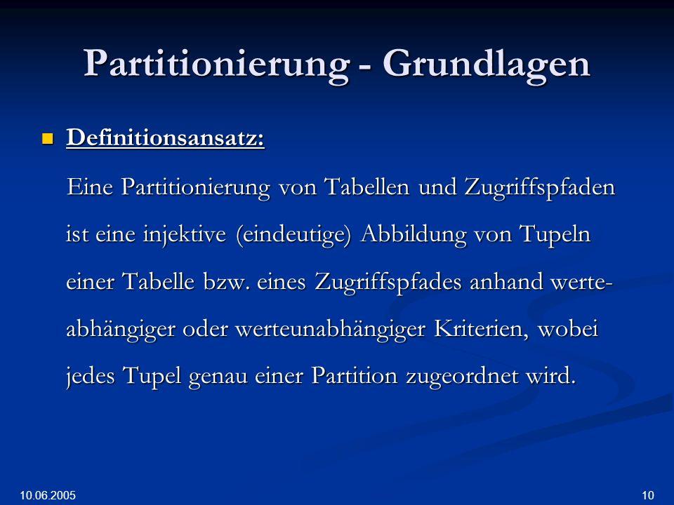 10.06.2005 10 Partitionierung - Grundlagen Definitionsansatz: Definitionsansatz: Eine Partitionierung von Tabellen und Zugriffspfaden ist eine injektive (eindeutige) Abbildung von Tupeln einer Tabelle bzw.