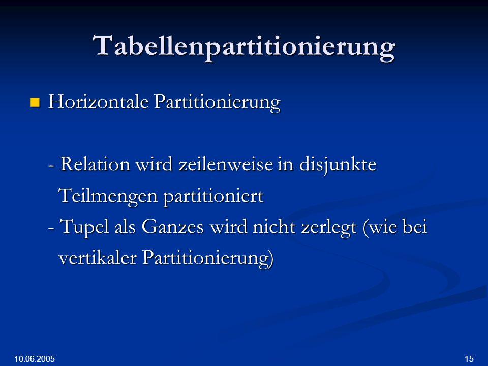10.06.2005 15 Tabellenpartitionierung Horizontale Partitionierung Horizontale Partitionierung - Relation wird zeilenweise in disjunkte Teilmengen partitioniert Teilmengen partitioniert - Tupel als Ganzes wird nicht zerlegt (wie bei vertikaler Partitionierung) vertikaler Partitionierung)