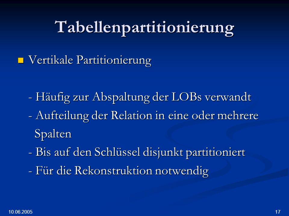 10.06.2005 17 Tabellenpartitionierung Vertikale Partitionierung Vertikale Partitionierung - Häufig zur Abspaltung der LOBs verwandt - Aufteilung der Relation in eine oder mehrere Spalten Spalten - Bis auf den Schlüssel disjunkt partitioniert - Für die Rekonstruktion notwendig