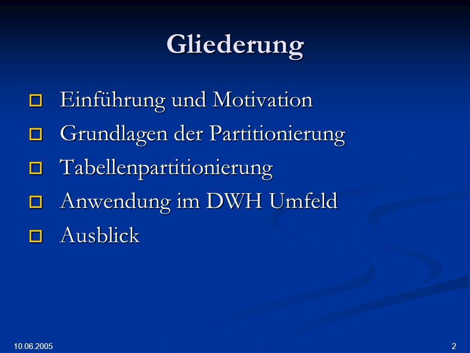 10.06.2005 13 Partitionierung - Grundlagen Zur Definition (3): Zur Definition (3): … von Tupeln einer Tabelle bzw.