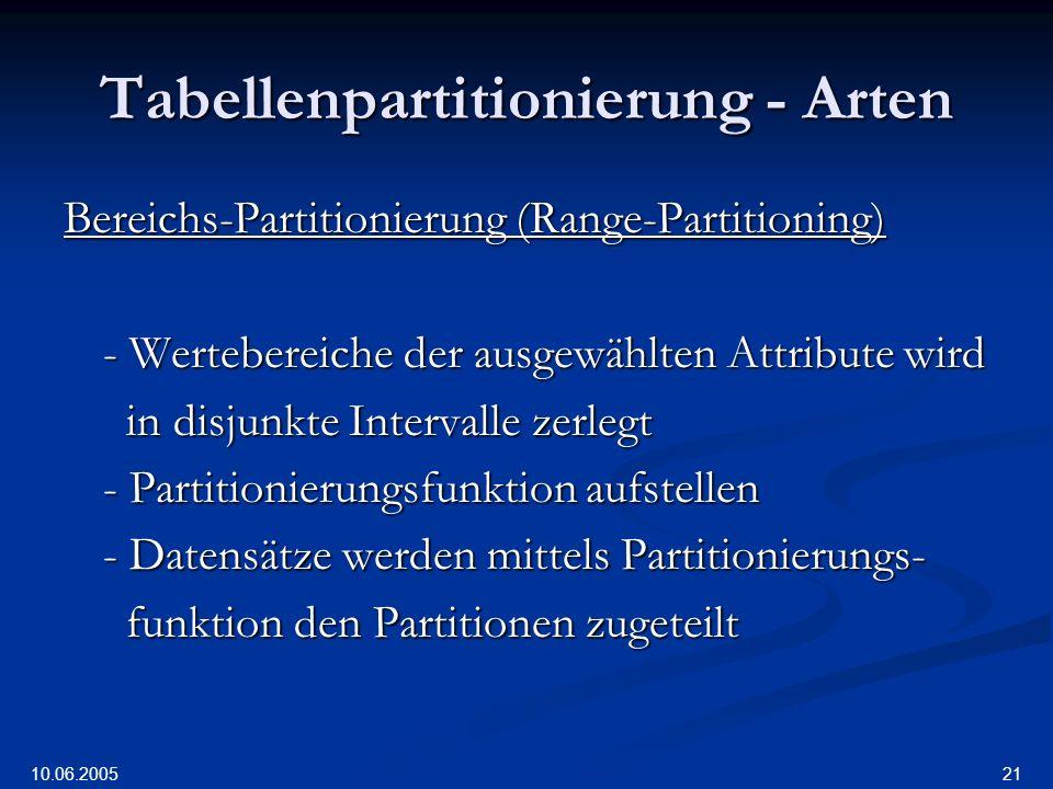 10.06.2005 21 Tabellenpartitionierung - Arten Bereichs-Partitionierung (Range-Partitioning) - Wertebereiche der ausgewählten Attribute wird in disjunkte Intervalle zerlegt in disjunkte Intervalle zerlegt - Partitionierungsfunktion aufstellen - Datensätze werden mittels Partitionierungs- funktion den Partitionen zugeteilt funktion den Partitionen zugeteilt