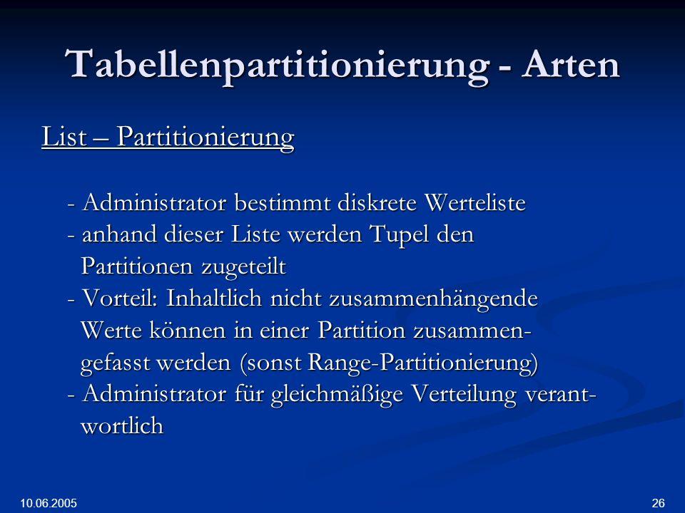 10.06.2005 26 Tabellenpartitionierung - Arten List – Partitionierung - Administrator bestimmt diskrete Werteliste - anhand dieser Liste werden Tupel den Partitionen zugeteilt Partitionen zugeteilt - Vorteil: Inhaltlich nicht zusammenhängende Werte können in einer Partition zusammen- Werte können in einer Partition zusammen- gefasst werden (sonst Range-Partitionierung) gefasst werden (sonst Range-Partitionierung) - Administrator für gleichmäßige Verteilung verant- wortlich wortlich