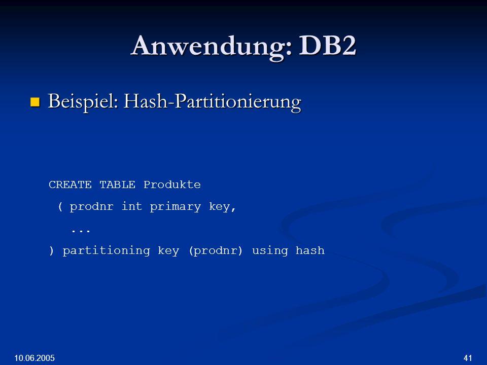 10.06.2005 41 Anwendung: DB2 Beispiel: Hash-Partitionierung Beispiel: Hash-Partitionierung CREATE TABLE Produkte ( prodnr int primary key,...
