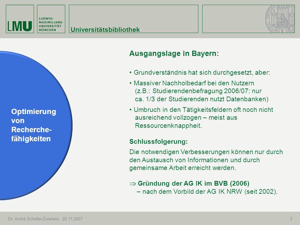 Universitätsbibliothek Dr. André Schüller-Zwierlein, 20.11.20073 Optimierung von Recherche- fähigkeiten Ausgangslage in Bayern: Grundverständnis hat s