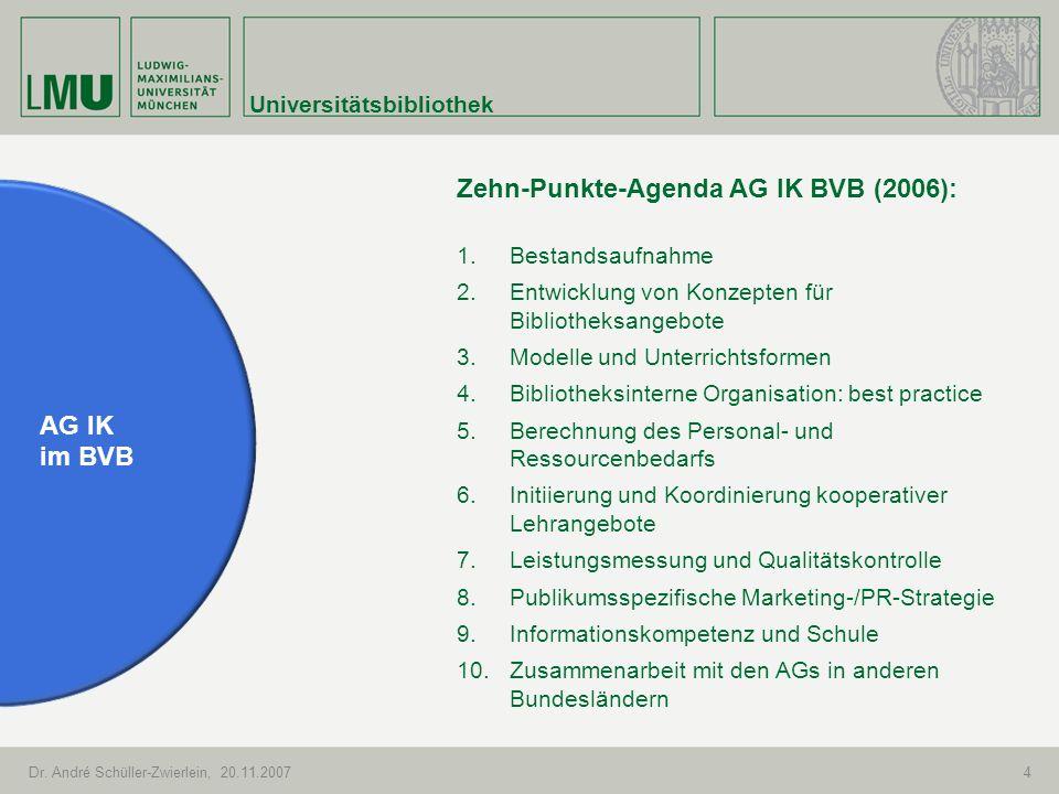 Universitätsbibliothek Dr. André Schüller-Zwierlein, 20.11.20074 AG IK im BVB Zehn-Punkte-Agenda AG IK BVB (2006): 1.Bestandsaufnahme 2.Entwicklung vo