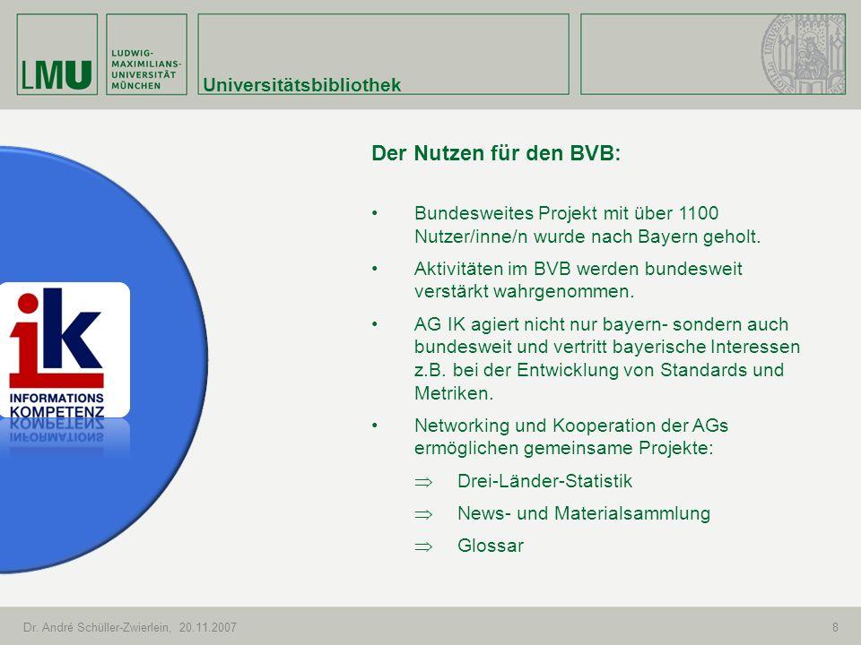 Universitätsbibliothek Dr. André Schüller-Zwierlein, 20.11.20078 Der Nutzen für den BVB: Bundesweites Projekt mit über 1100 Nutzer/inne/n wurde nach B