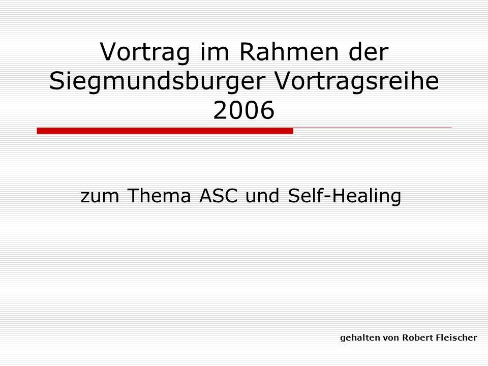 Vortrag im Rahmen der Siegmundsburger Vortragsreihe 2006 zum Thema ASC und Self-Healing gehalten von Robert Fleischer