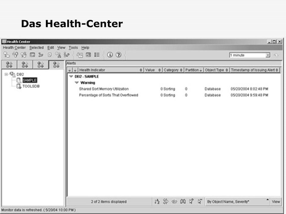 Das Health-Center Ein grafische Oberfläche zum Health-Monitor Einstellung des Health-Monitor möglich