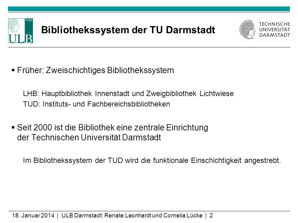 18. Januar 2014 | ULB Darmstadt: Renate Leonhardt und Cornelia Lücke | 2 Bibliothekssystem der TU Darmstadt Früher: Zweischichtiges Bibliothekssystem