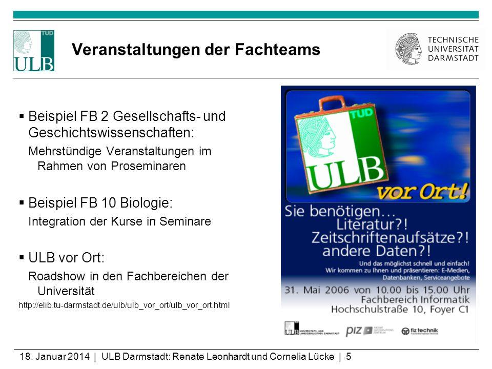 18. Januar 2014 | ULB Darmstadt: Renate Leonhardt und Cornelia Lücke | 5 Veranstaltungen der Fachteams Beispiel FB 2 Gesellschafts- und Geschichtswiss
