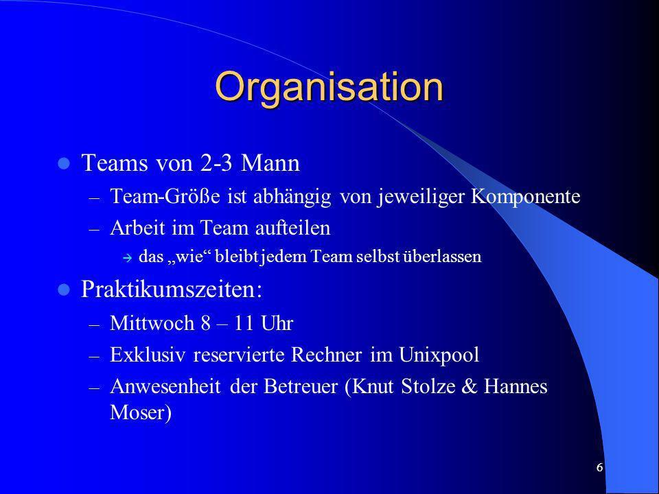 6 Organisation Teams von 2-3 Mann – Team-Größe ist abhängig von jeweiliger Komponente – Arbeit im Team aufteilen das wie bleibt jedem Team selbst über