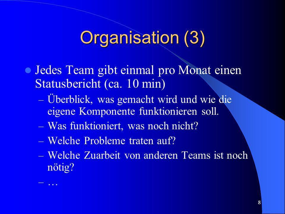 8 Organisation (3) Jedes Team gibt einmal pro Monat einen Statusbericht (ca. 10 min) – Überblick, was gemacht wird und wie die eigene Komponente funkt