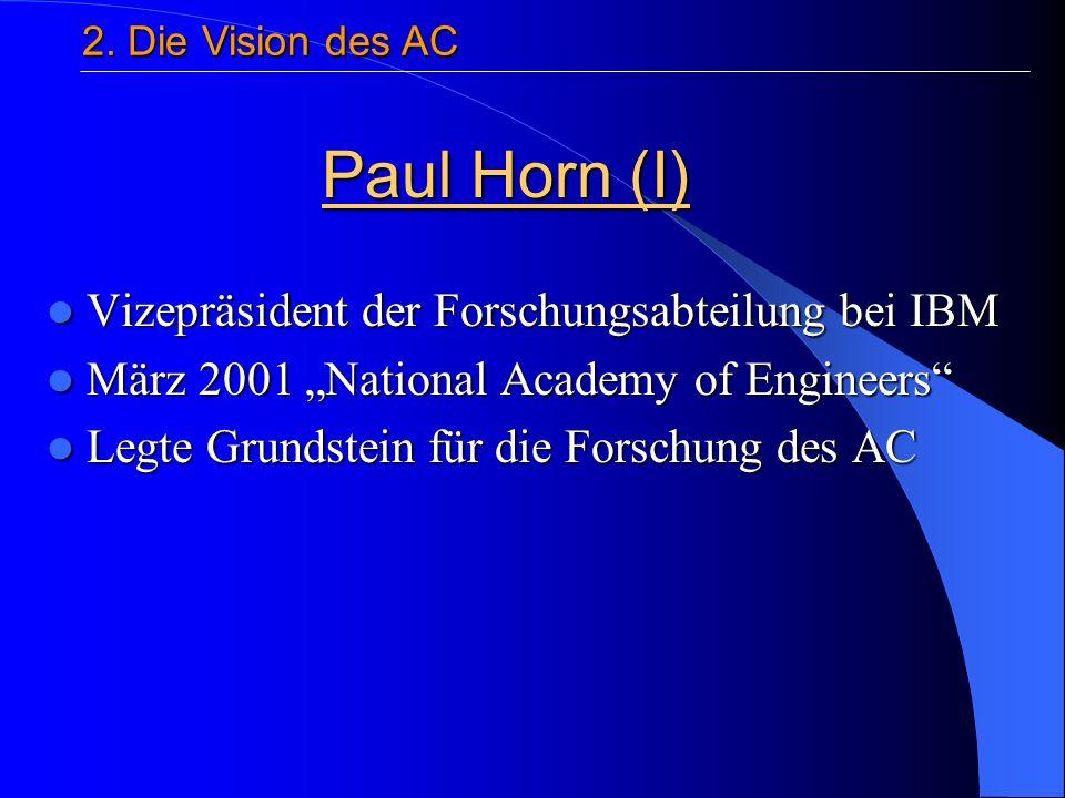 Vizepräsident der Forschungsabteilung bei IBM Vizepräsident der Forschungsabteilung bei IBM März 2001 National Academy of Engineers März 2001 National Academy of Engineers Legte Grundstein für die Forschung des AC Legte Grundstein für die Forschung des AC Paul Horn (I) 2.