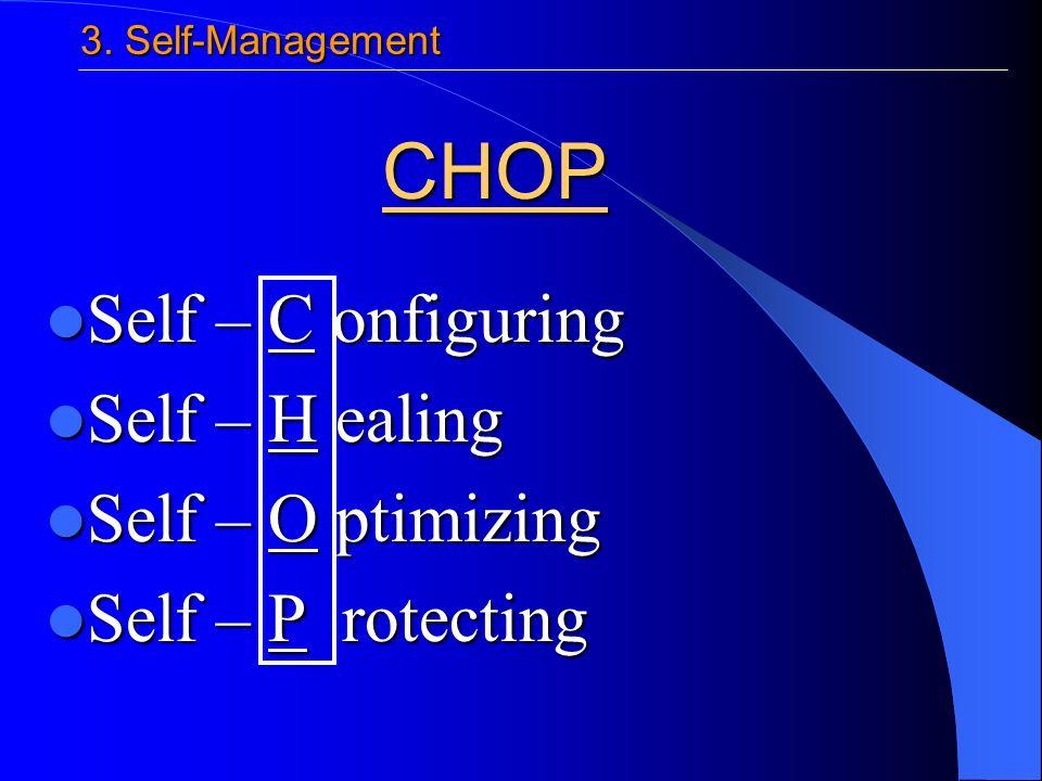 Self – C onfiguring Self – C onfiguring Self – H ealing Self – H ealing Self – O ptimizing Self – O ptimizing Self – P rotecting Self – P rotecting CHOP 3.