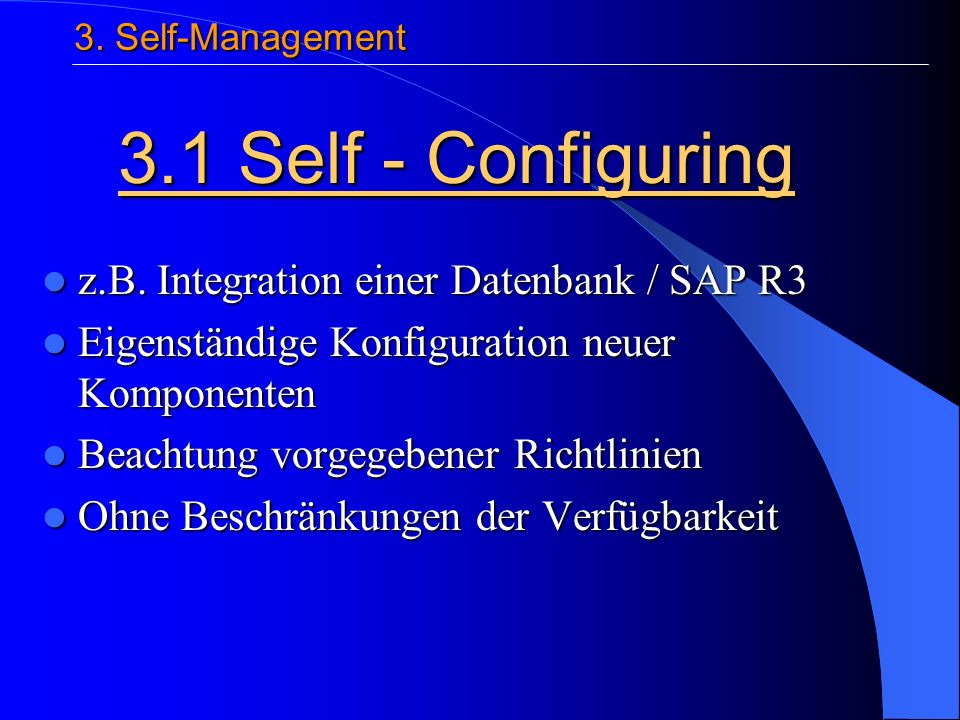 z.B. Integration einer Datenbank / SAP R3 z.B.