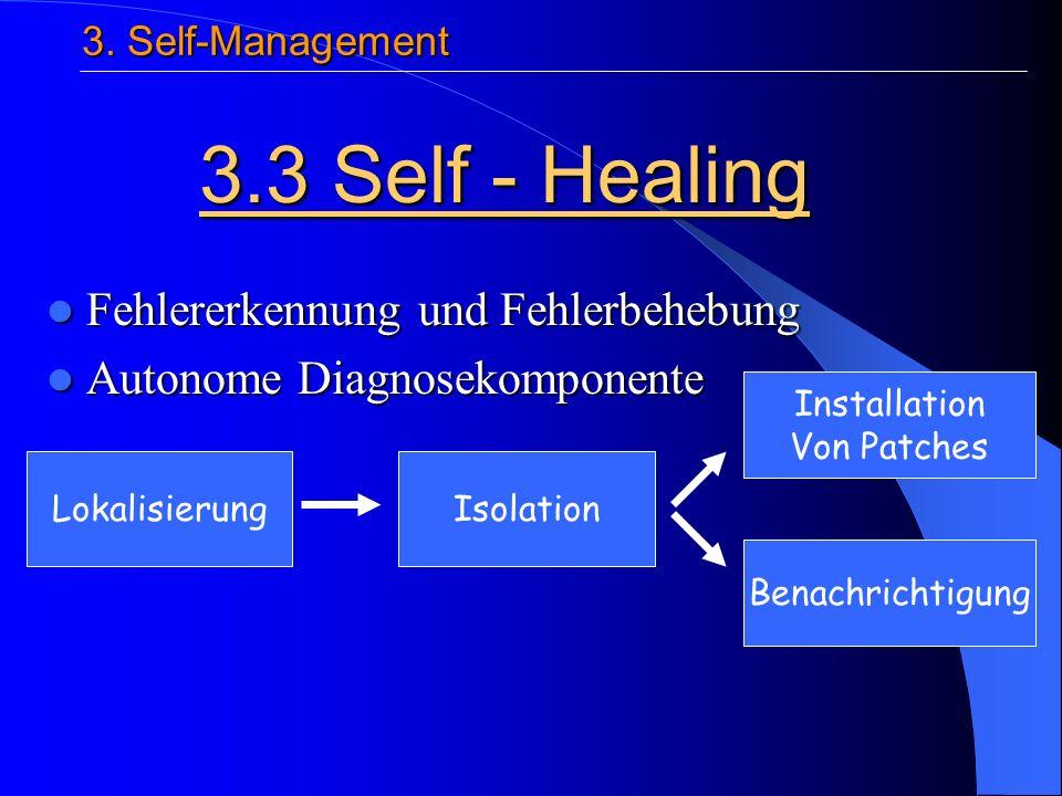 Fehlererkennung und Fehlerbehebung Fehlererkennung und Fehlerbehebung Autonome Diagnosekomponente Autonome Diagnosekomponente 3.3 Self - Healing 3.
