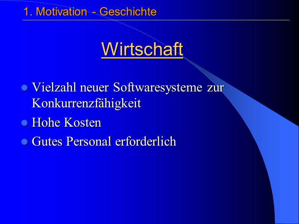 Vielzahl neuer Softwaresysteme zur Konkurrenzfähigkeit Vielzahl neuer Softwaresysteme zur Konkurrenzfähigkeit Hohe Kosten Hohe Kosten Gutes Personal erforderlich Gutes Personal erforderlich Wirtschaft 1.