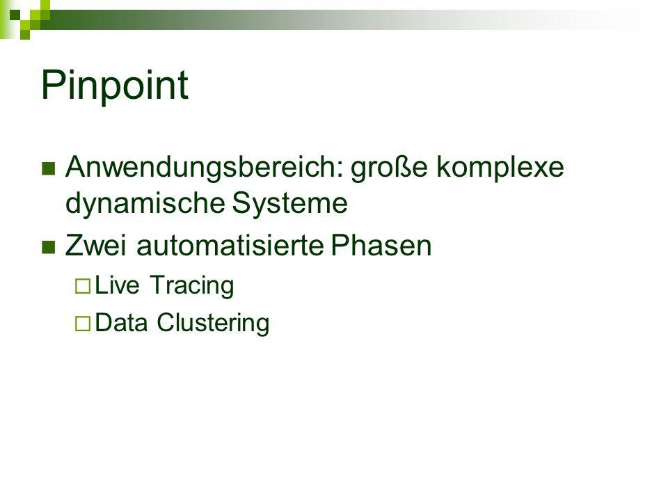 Pinpoint Anwendungsbereich: große komplexe dynamische Systeme Zwei automatisierte Phasen Live Tracing Data Clustering